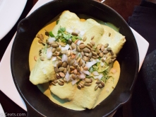 Shredded chicken enchiladas with pumpkin seeds and green chile