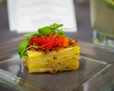 """Funeral potatoes"" with Utah trout roe"