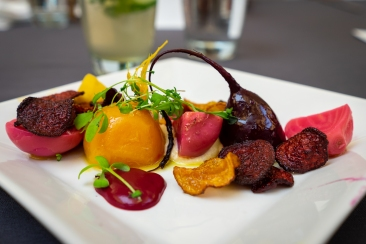 Beets five ways with pine nut pudding. I'm not a beet fan, but this dish was spectacular.