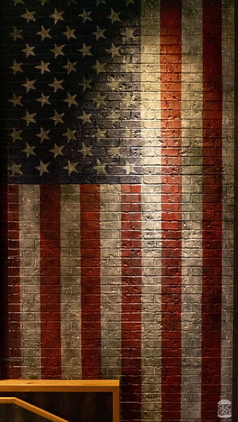 American flag painted on restaurant wall