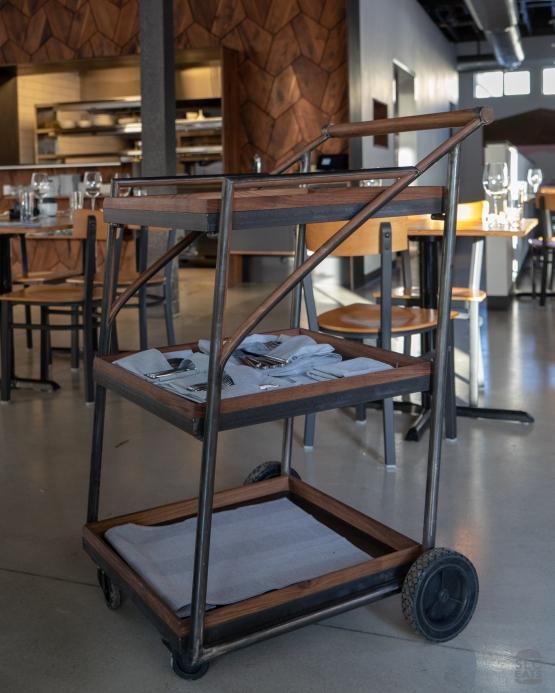 A photo of a dim sum cart in a restaurant