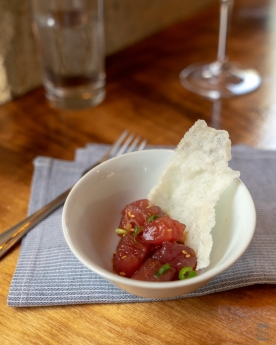 A photo of a small bowl of tuna poke