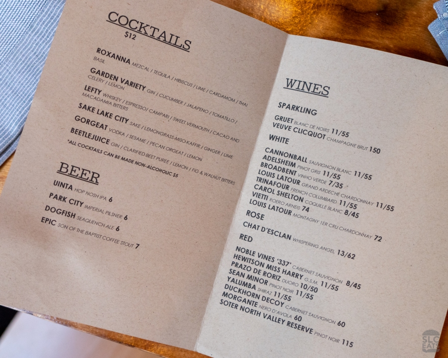 Photo of the drink menu at SLC Eatery