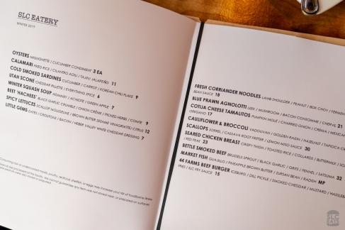 Photo of a menu